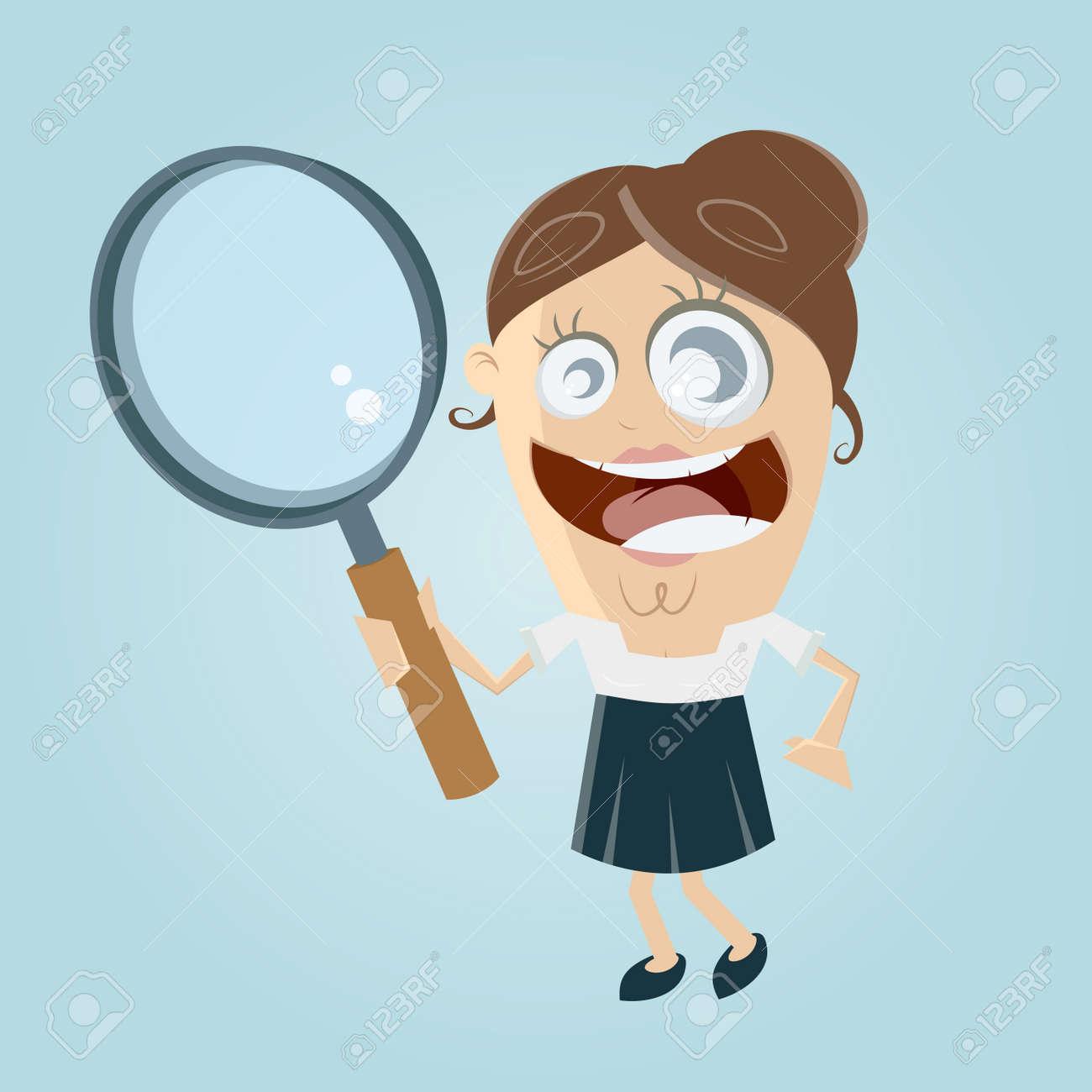 Drole De Femme D Affaires Avec Loupe Clip Art Libres De Droits Vecteurs Et Illustration Image 62340990