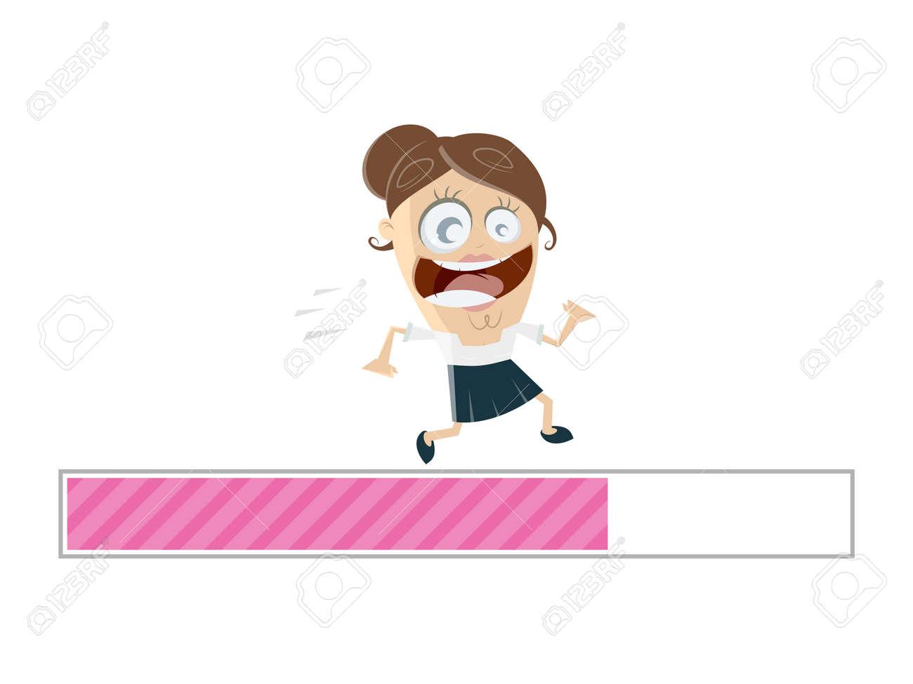 running businesswoman with progress bar Standard-Bild - 85215276