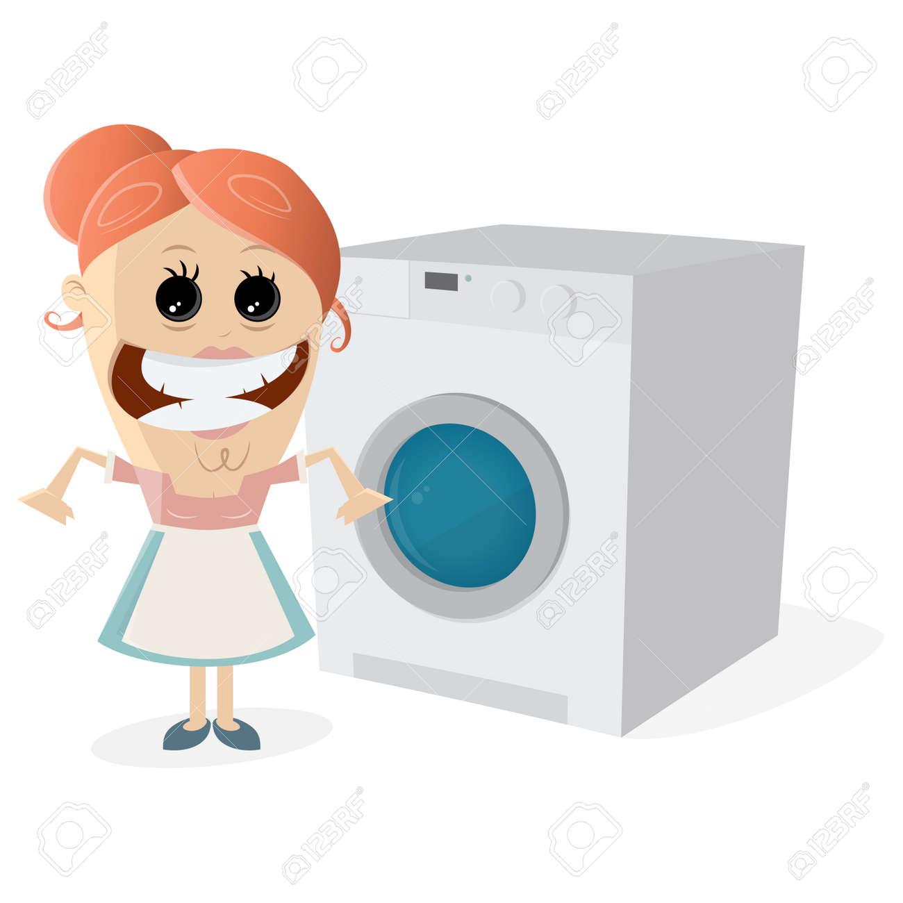 Happy housewife with washing machine Standard-Bild - 85173434