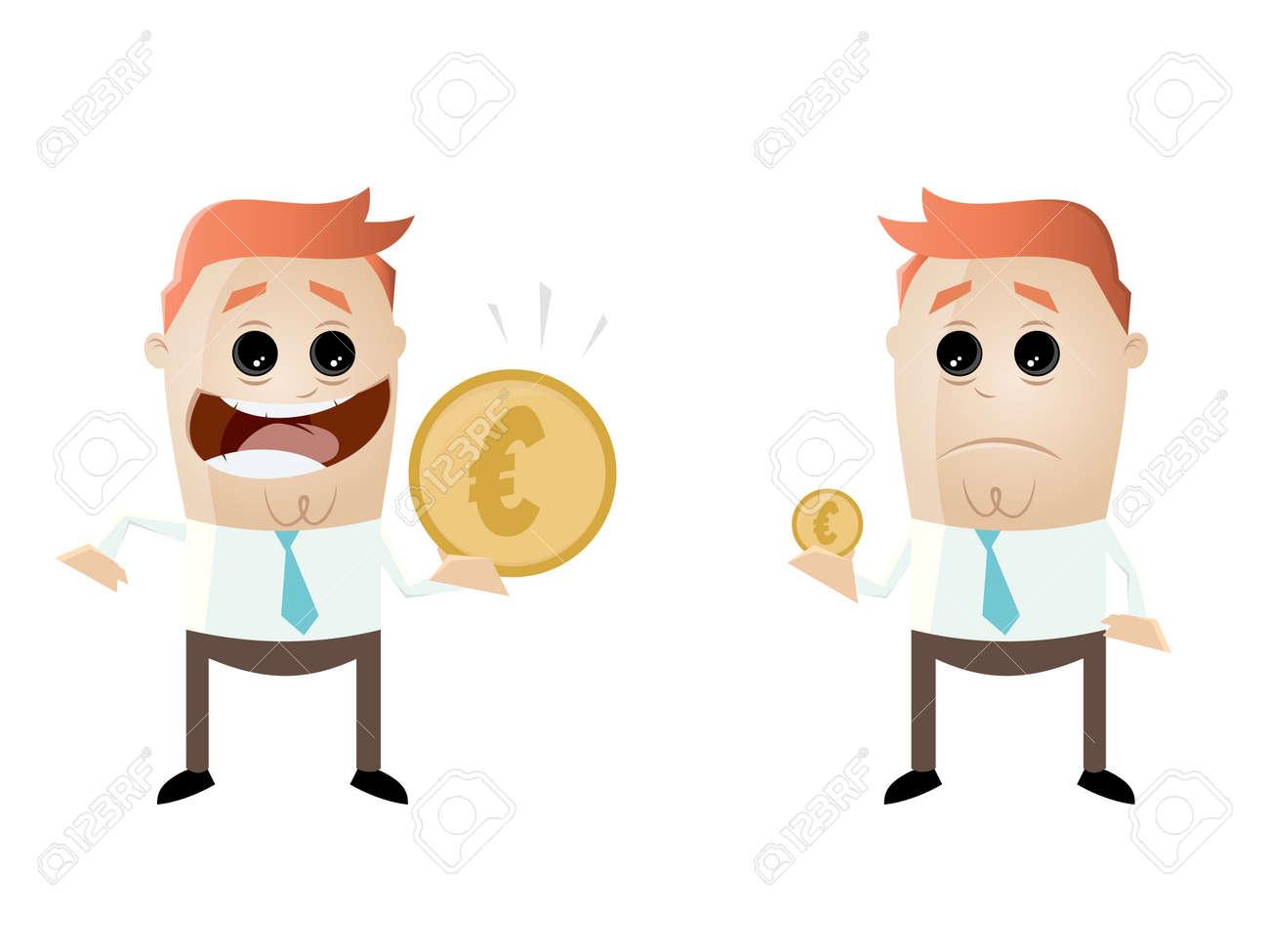 Businessmen comparing their earnings euro vs euro Standard-Bild - 85173437