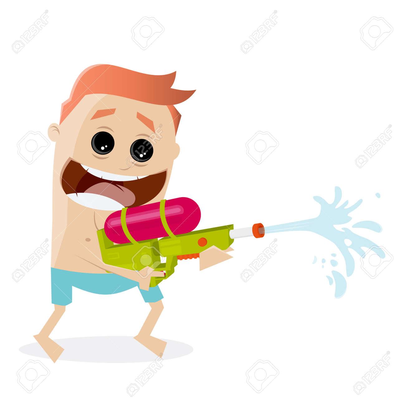 funny cartoon man shooting with a water gun Standard-Bild - 85098118
