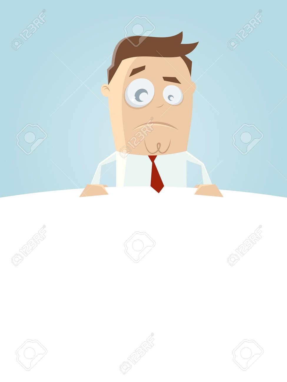 skeptical businessman on top of empty space Standard-Bild - 85098133