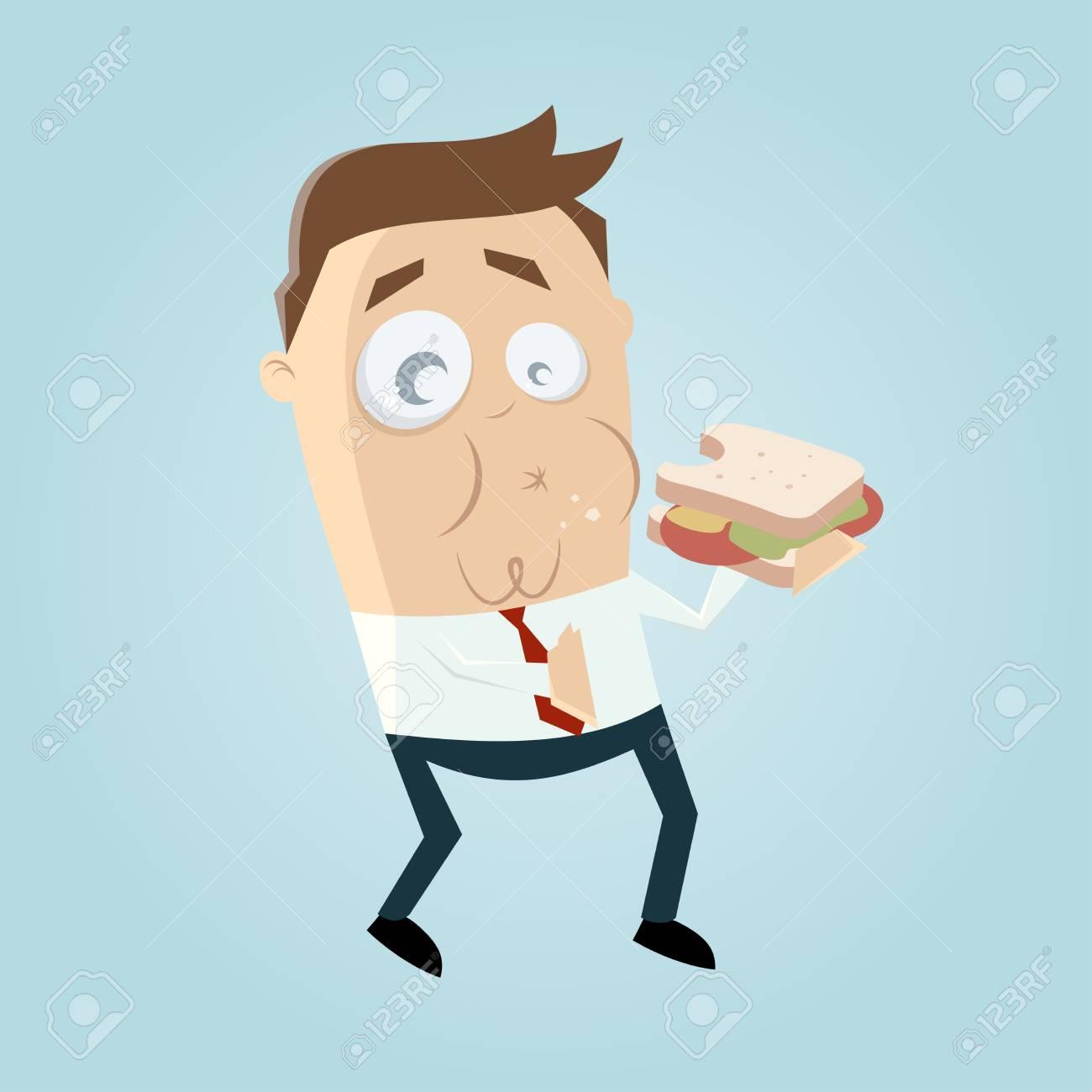 funny businessman eating a sandwich Standard-Bild - 84826033