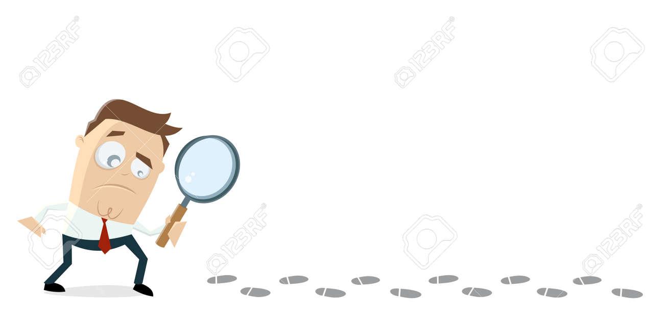 businessman investigating suspicious footprints Standard-Bild - 84826037