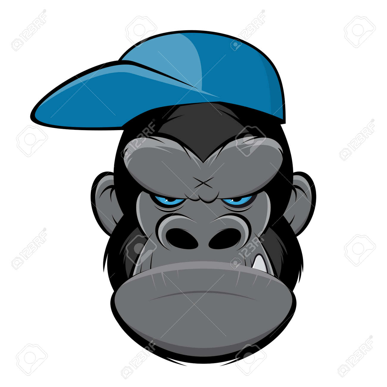 Angry gorilla with a cap Standard-Bild - 84561839