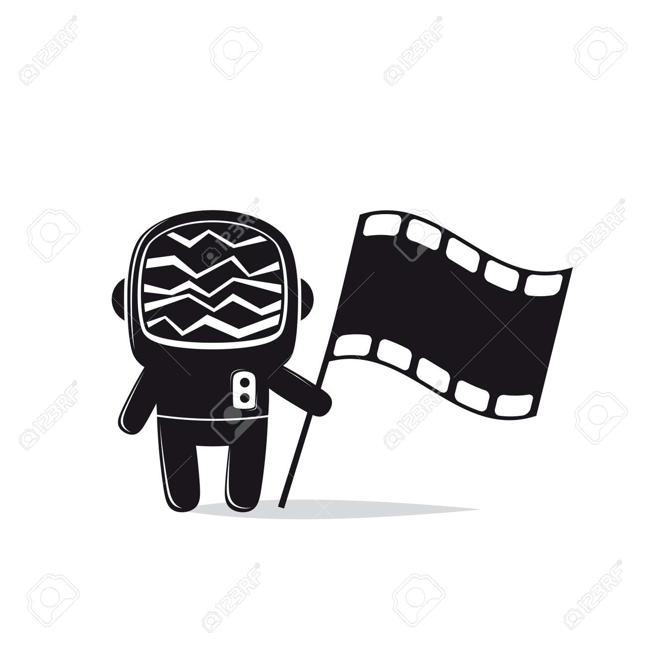 Astronaut with screen head and film flag Standard-Bild - 84561842