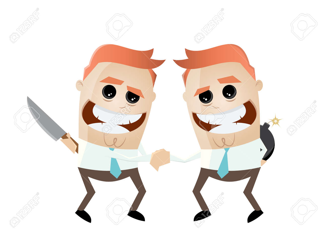 shaking hands with weapons behind cartoon royalty free cliparts rh 123rf com political cartoon shaking hands cartoon characters shaking hands