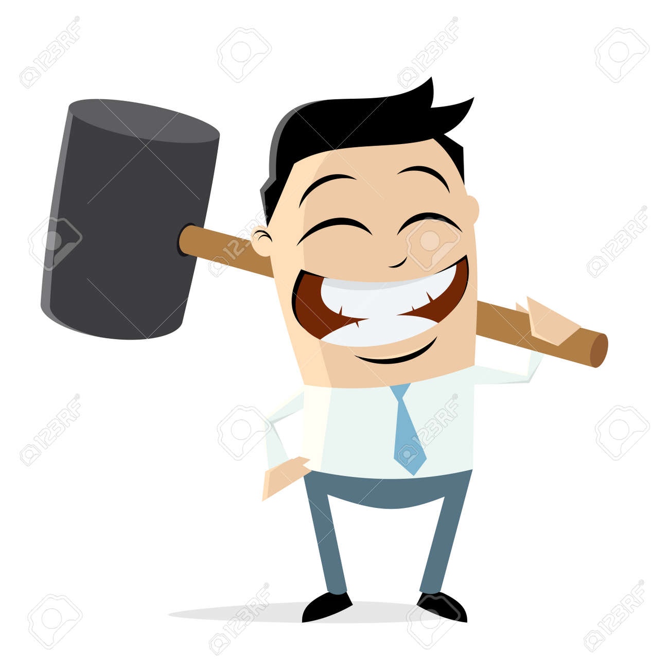 happy businessman with big hammer clip art vector illustration rh 123rf com