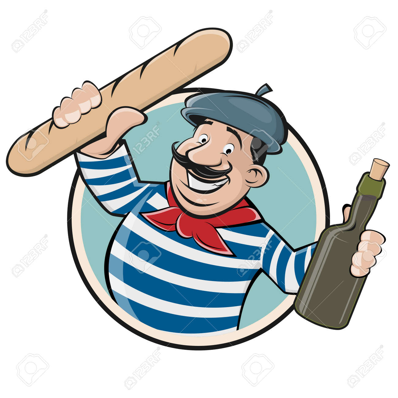 funny clip art of a french man with baguette and wine royalty free rh 123rf com French Artist Clip Art French Country Clip Art
