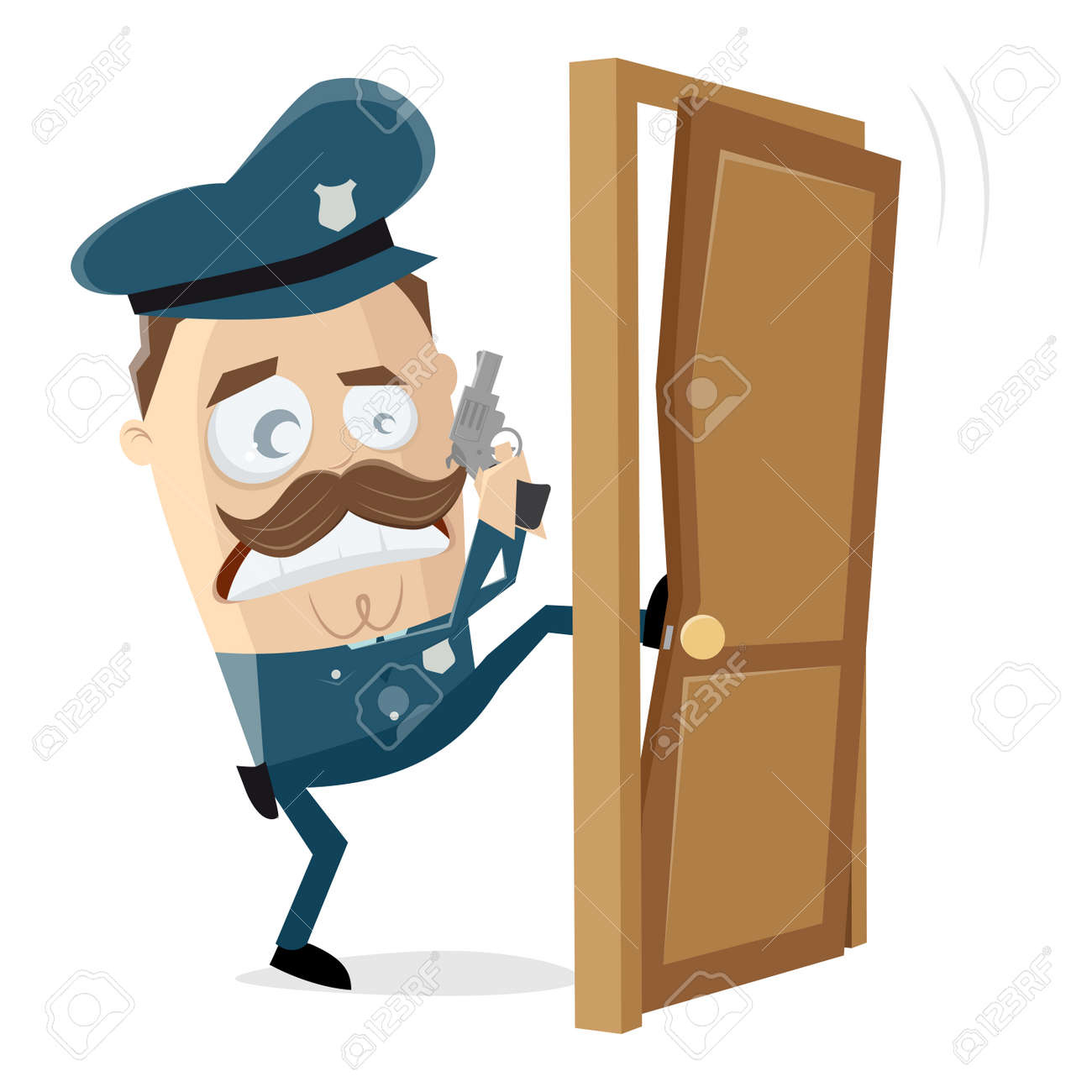 Angry Police Officer Kicking In The Door Royalty Free Cliparts Vectors And Stock Illustration Image 117238862
