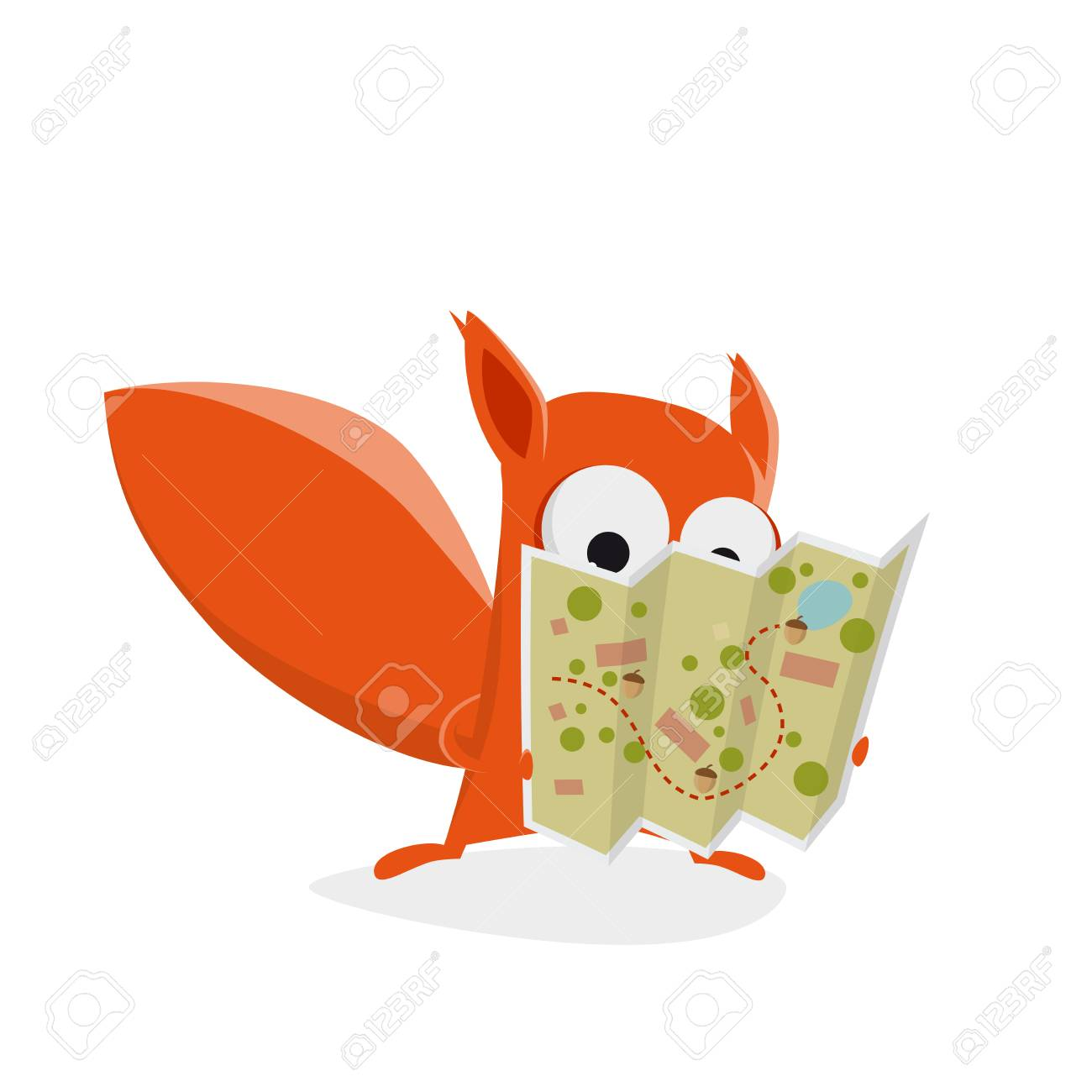 Funny Cartoon Squirrel Holding A Treasure Map With Nuts Lizenzfrei on