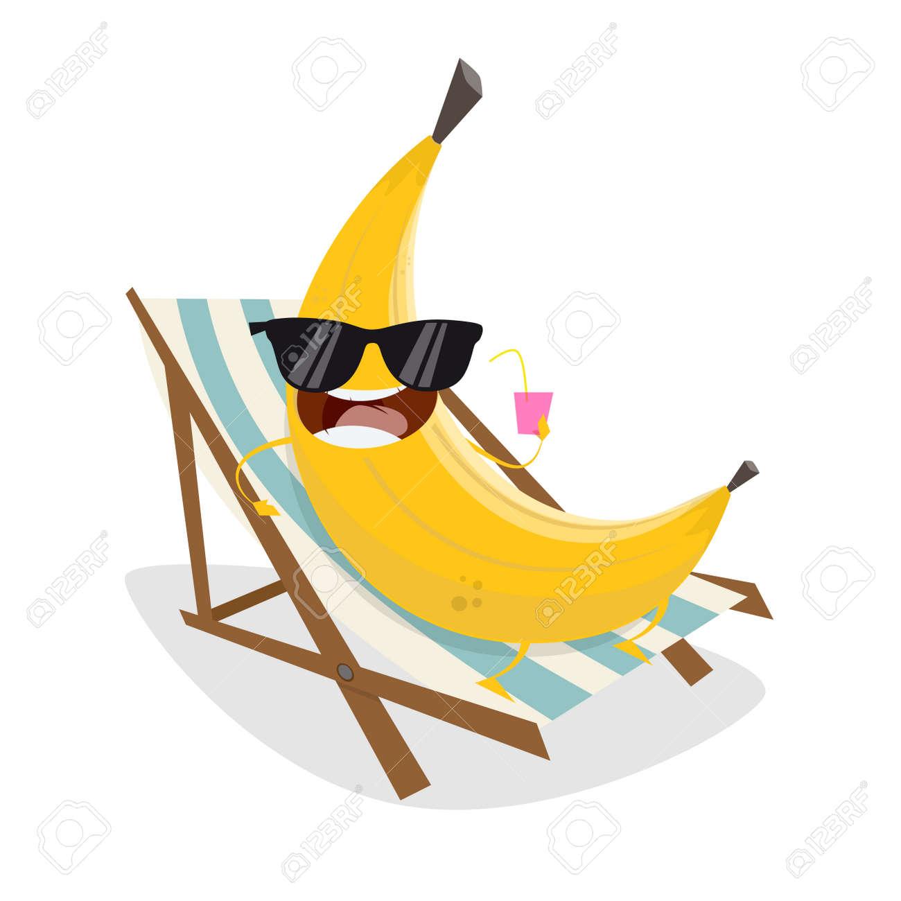 Phenomenal Funny Cartoon Banana Relaxing On Sunbed Download Free Architecture Designs Scobabritishbridgeorg