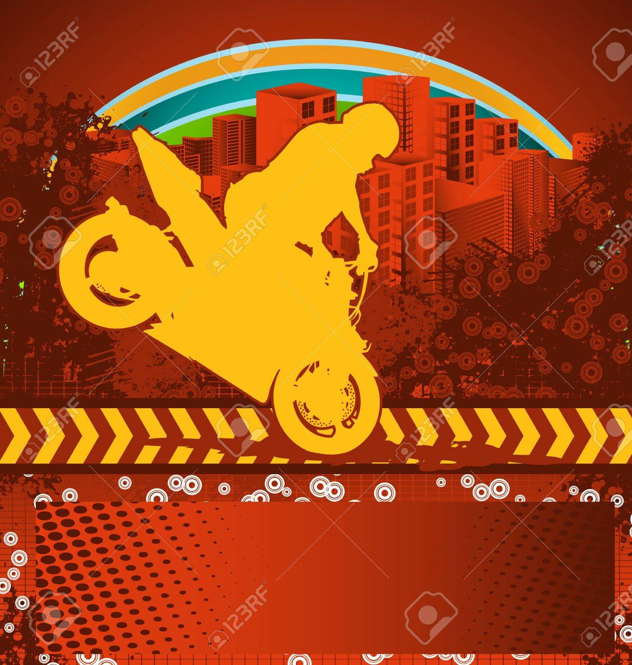Abstract grunge background with motorcyclist silhouette Stock Vector - 10547931