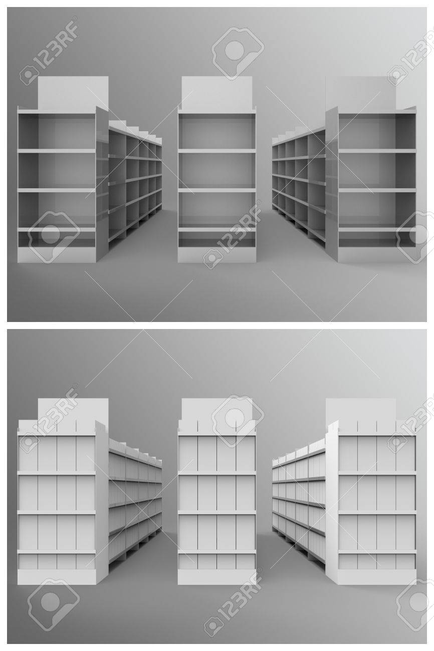 Aisle with Gondola Store Branding is a set of professional 3D