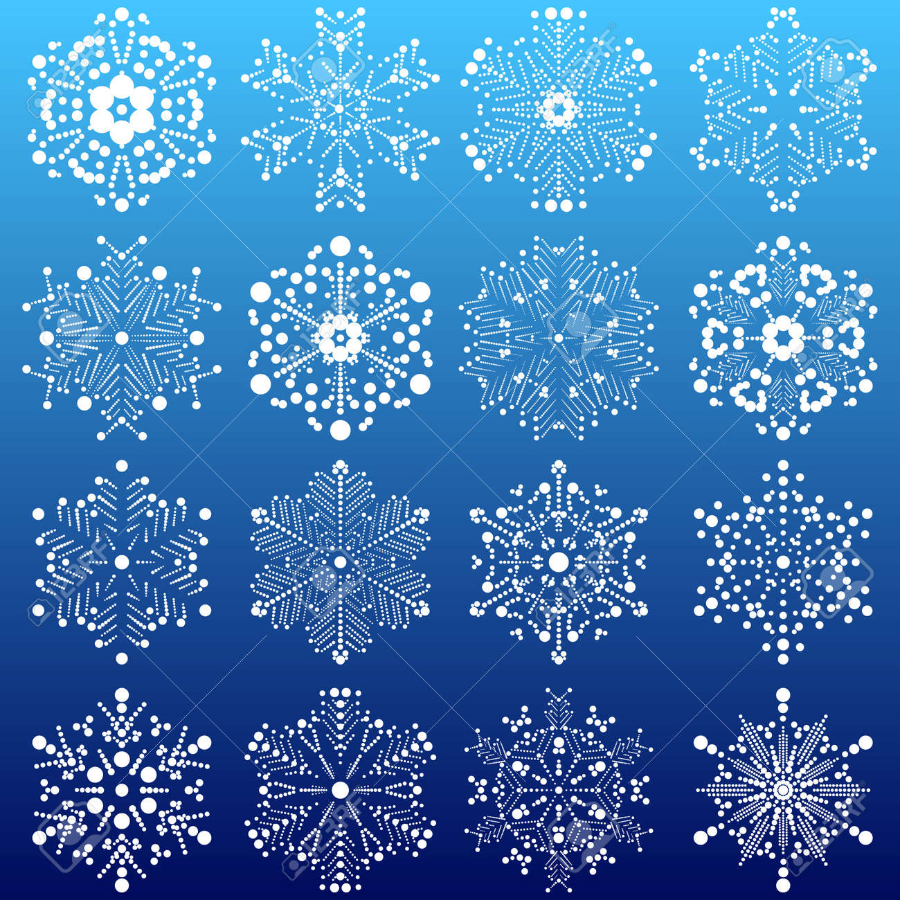set of snowflakes  elements grouped  layered vector for easy manipulation Stock Vector - 16798213