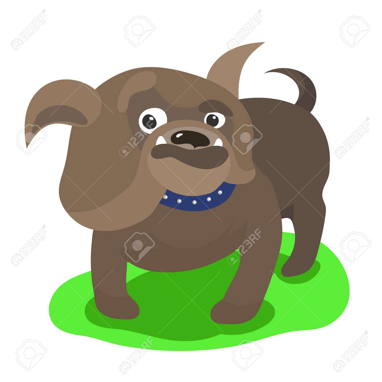 Vettoriale bulldog inglese del simpatico cartone animato con la