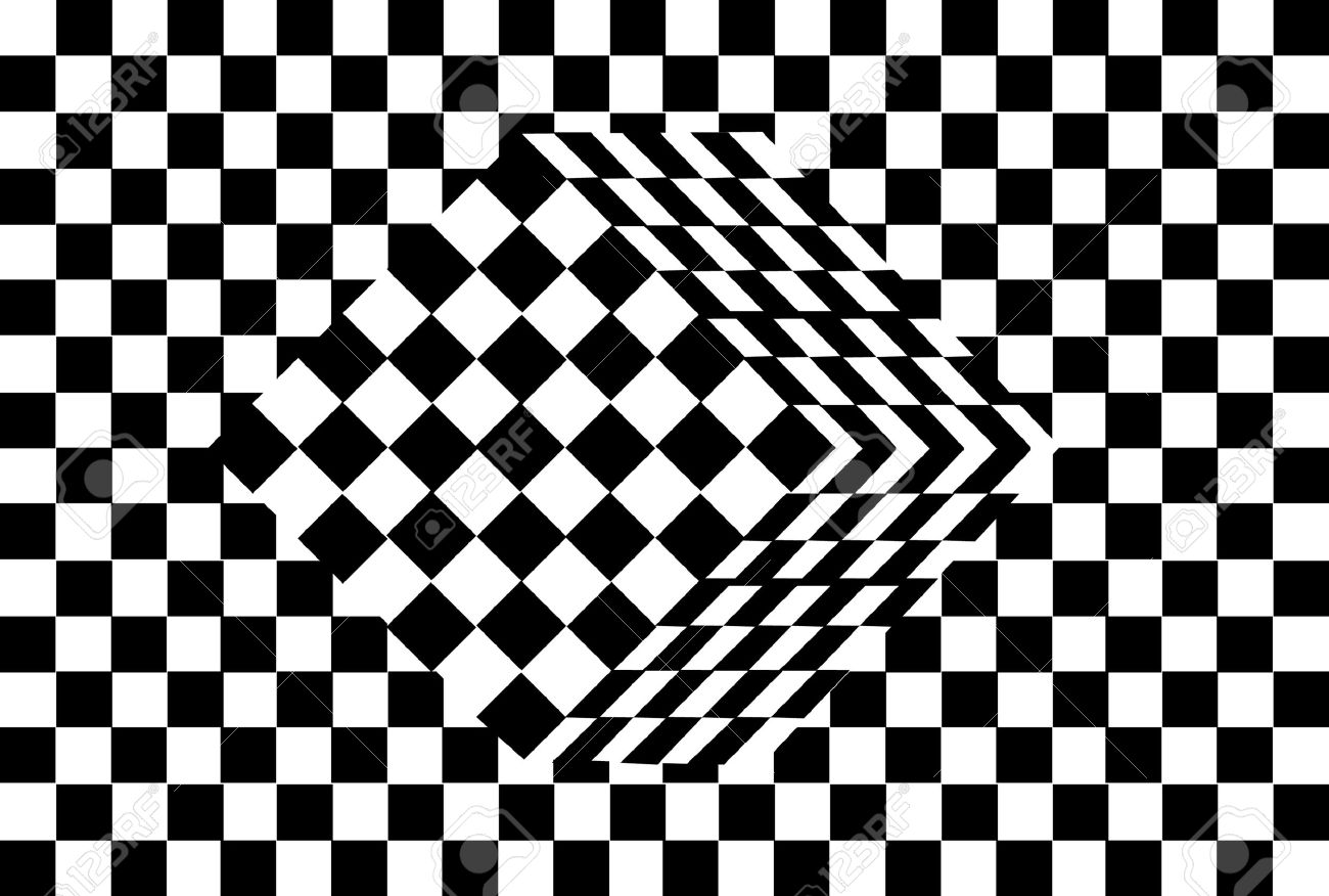 Black And White Cube Optical Illusion Vector Stock