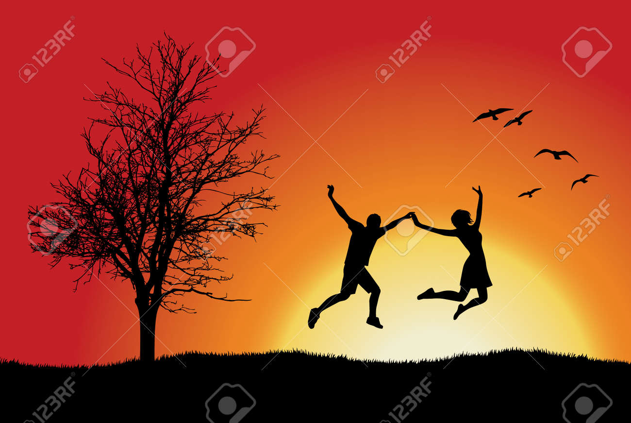 man and girl holding for hands and jumping on hill near bare tree, orange background Stock Vector - 8603926
