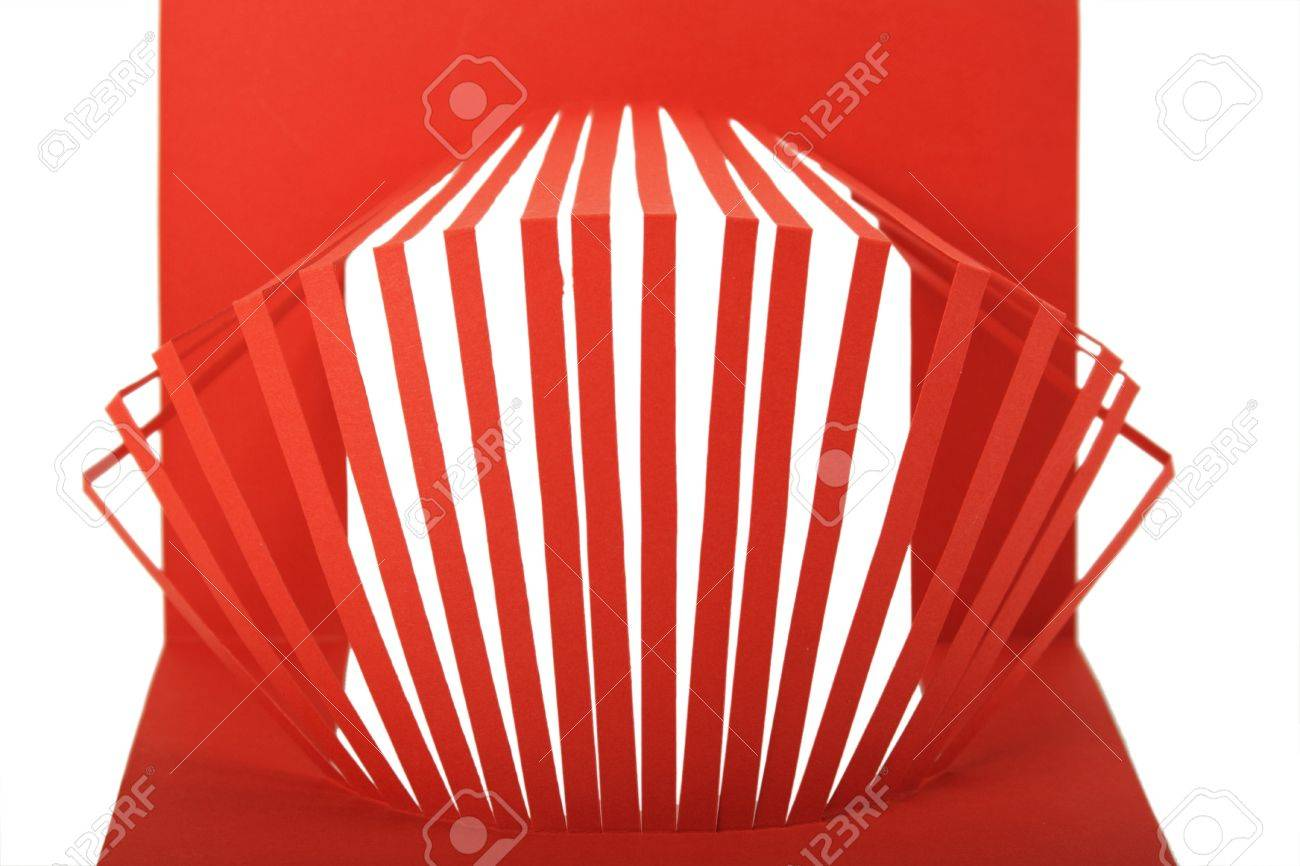abstract red paper composition with cutout stripes isolated Stock Photo - 8990959