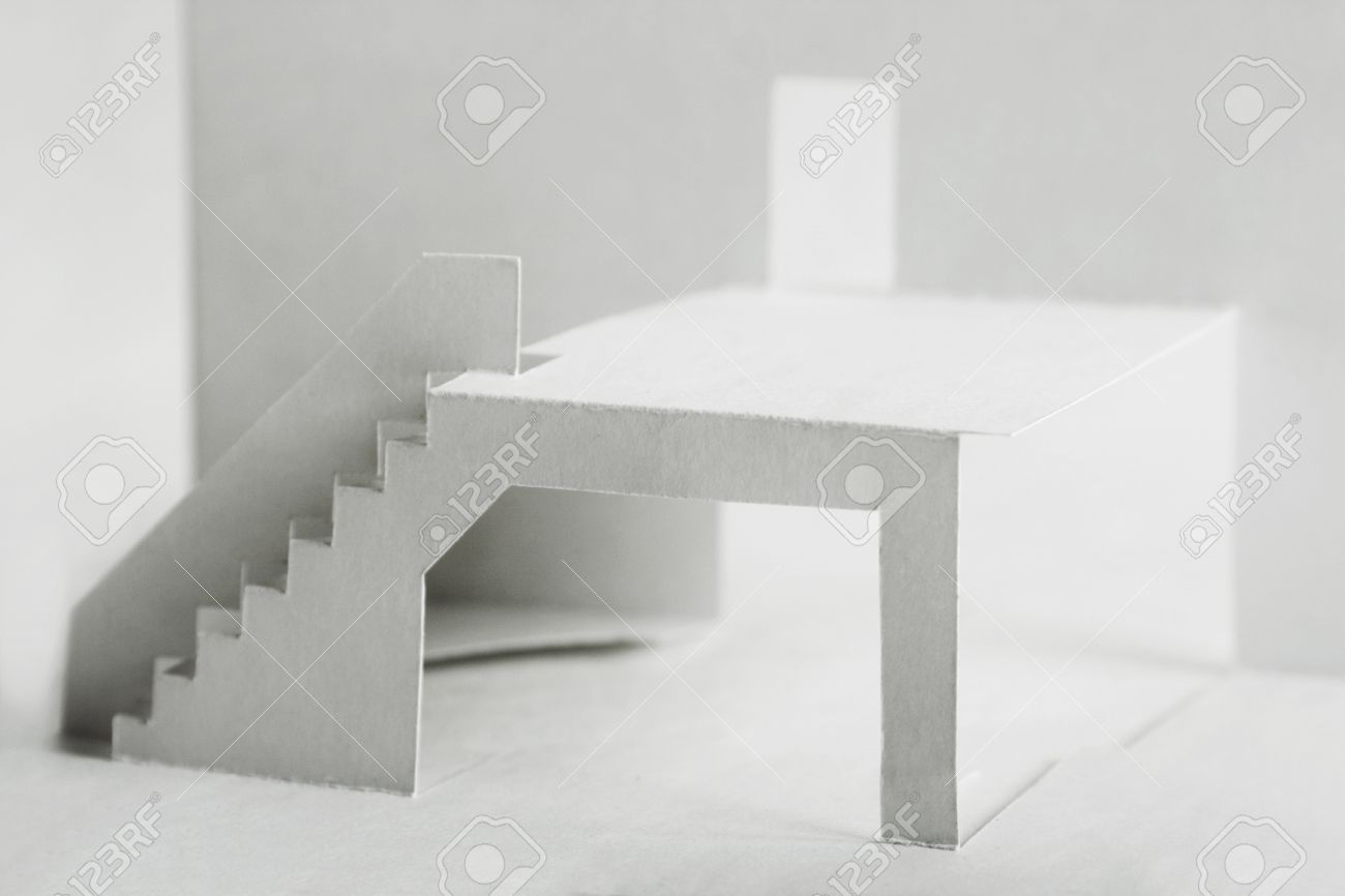 paper cutout composition with white elements of building, terrace with stairs and door Stock Photo - 8990961