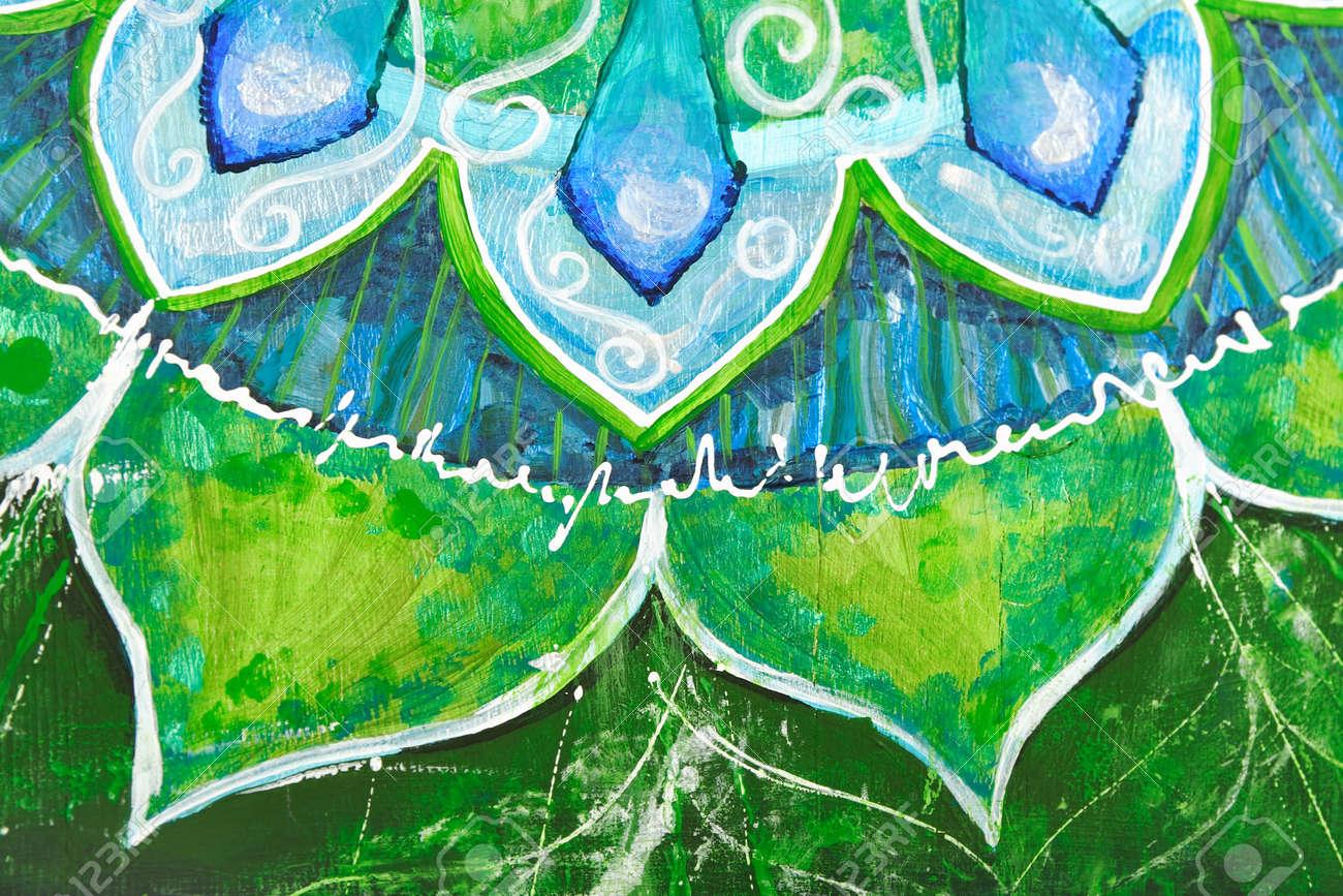 closeup of bright green painted picture with circle pattern, mandala of anahata chakra Stock Photo - 9070179
