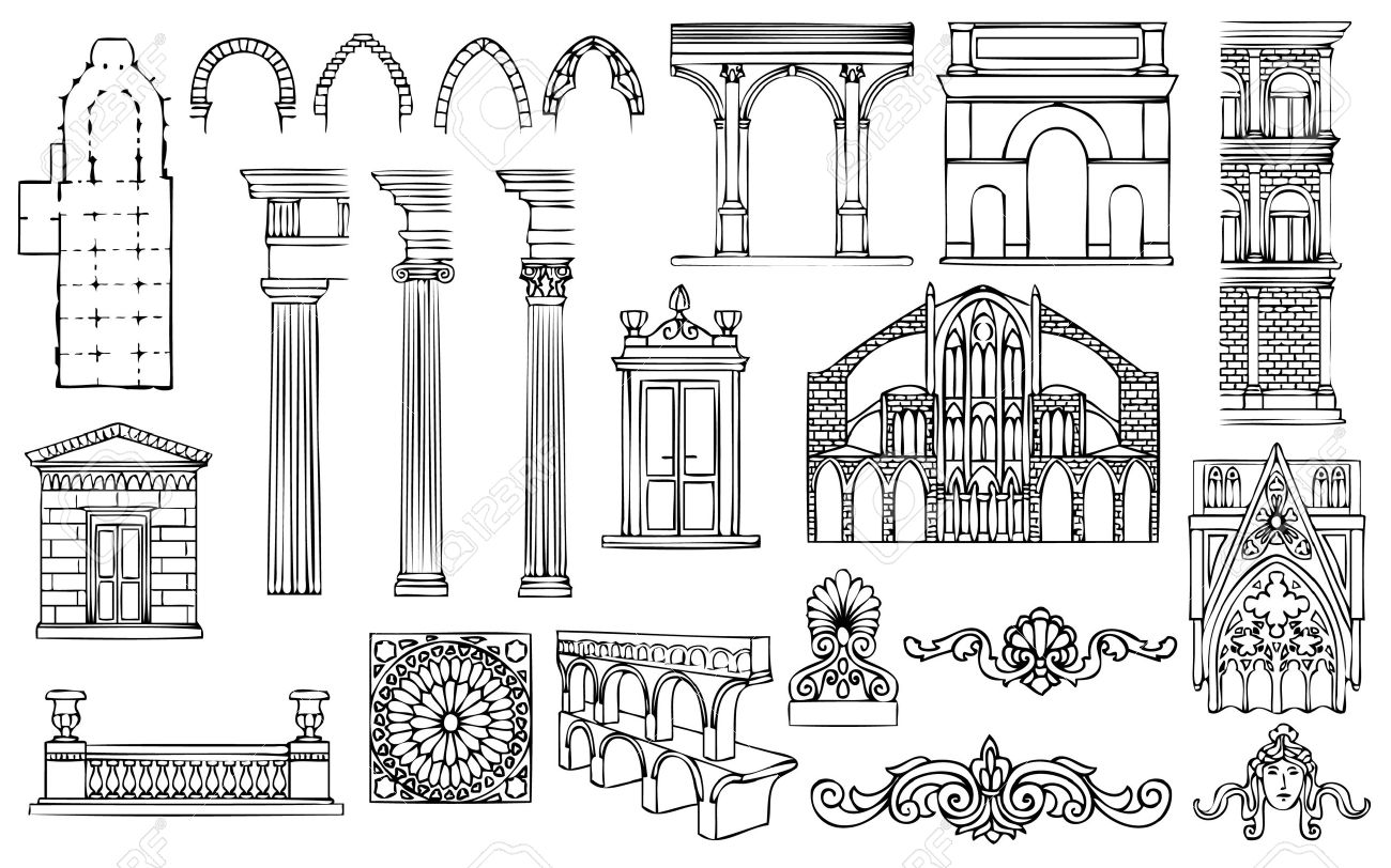 architecture and ornaments vector set Stock Vector - 9932565