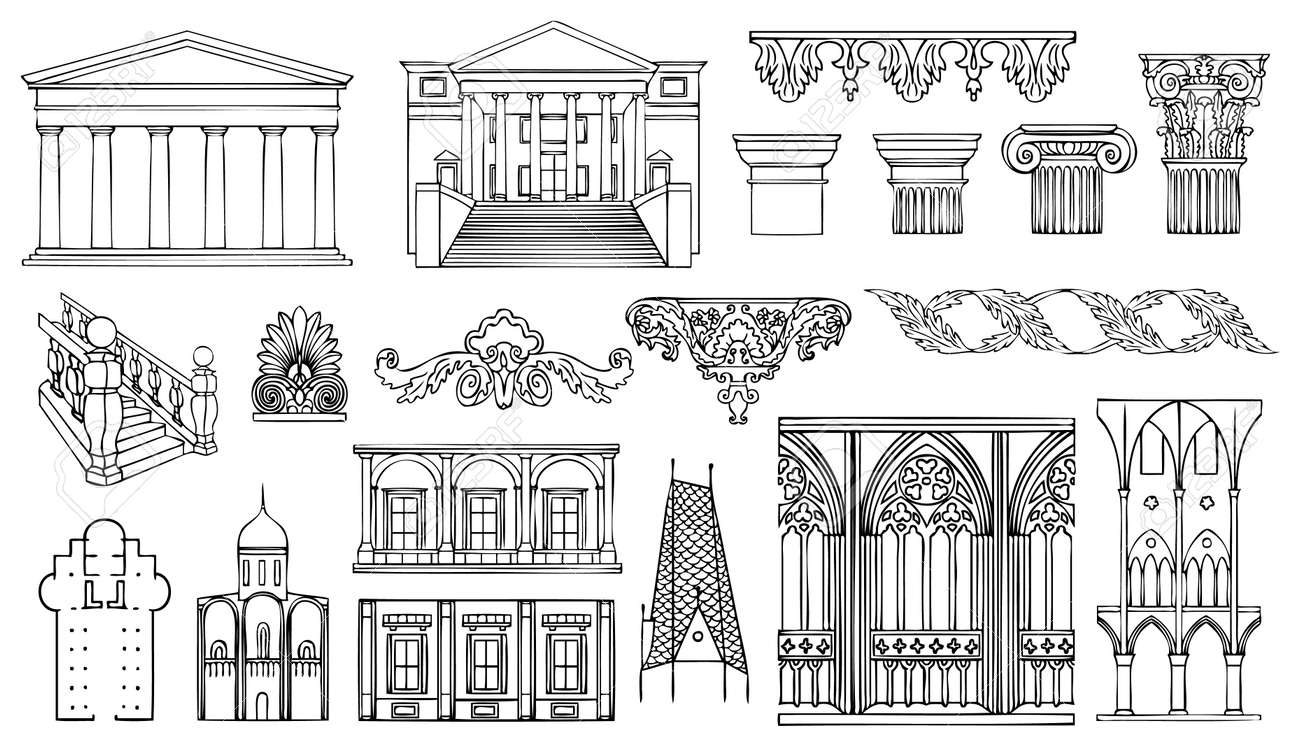 Architecture And Ornaments Vector Set Stock