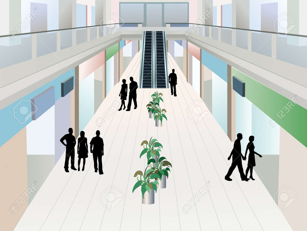people in shopping mall with two floors, vector Stock Vector - 10101225