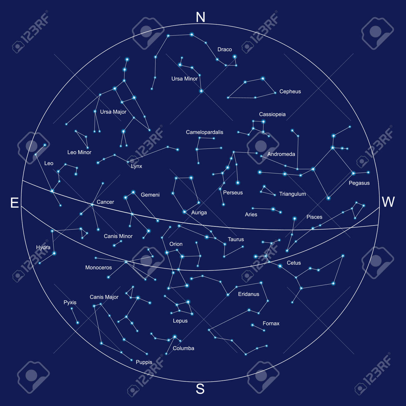 Map Of Constellations Sky Map And Constellations With Titles, Vector Royalty Free