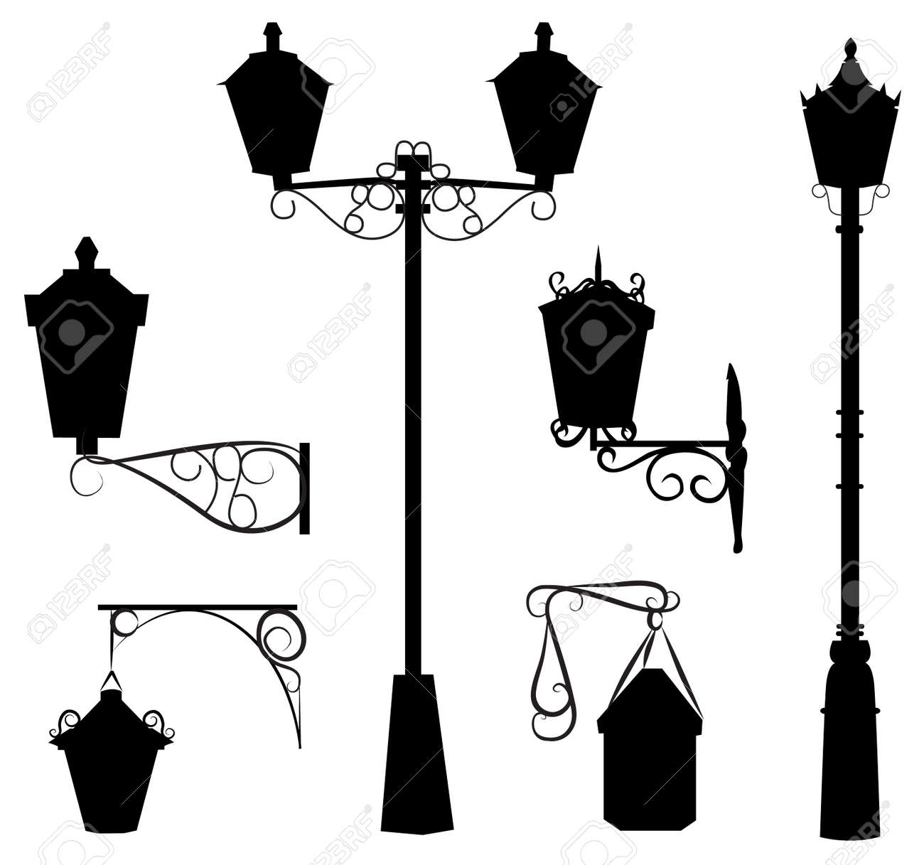 Silhouette Of Antique Outdoor Lamps Stock Vector   10138636