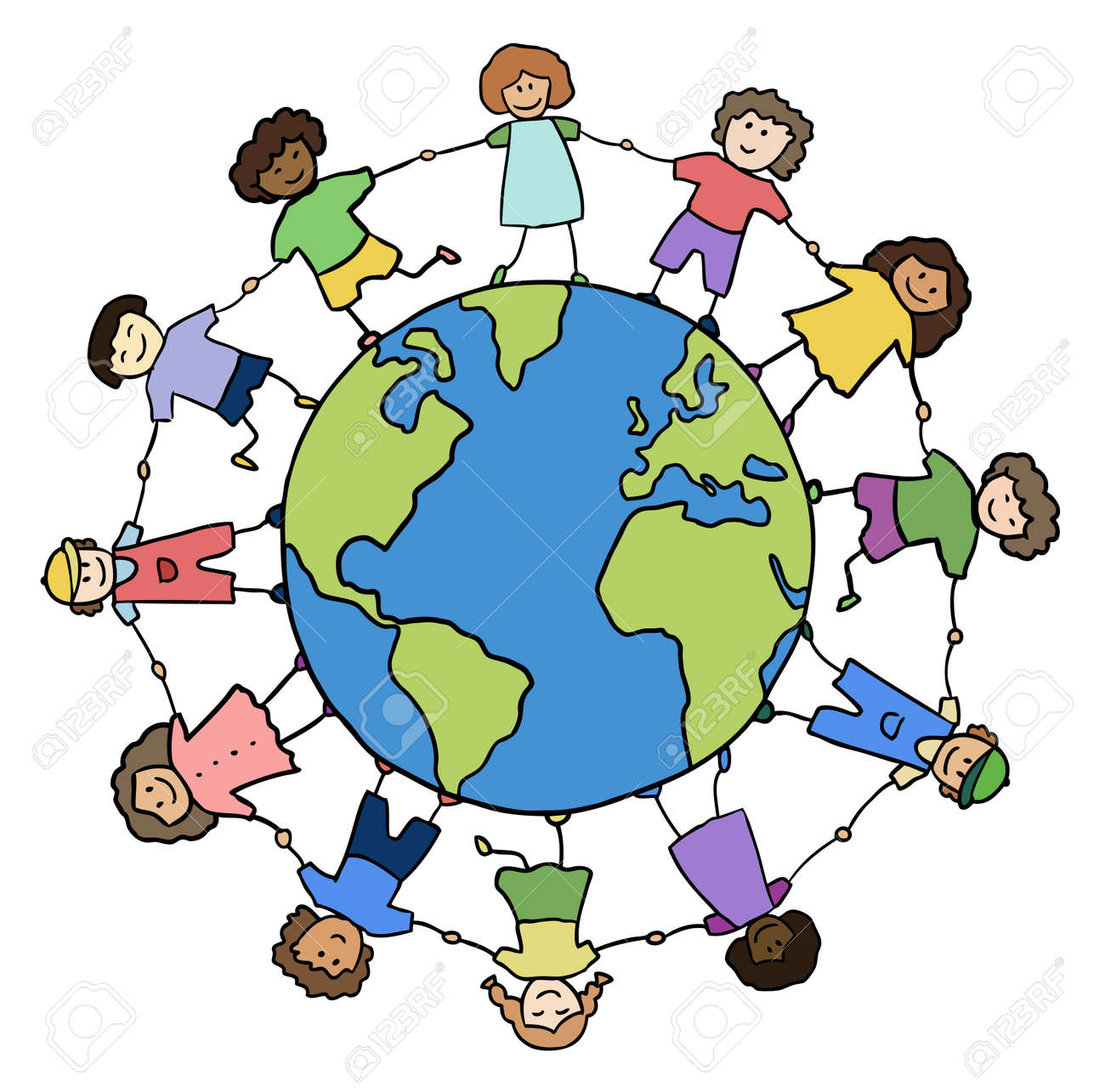 children of different races holding for hands around planet vector Stock Vector - 10446425