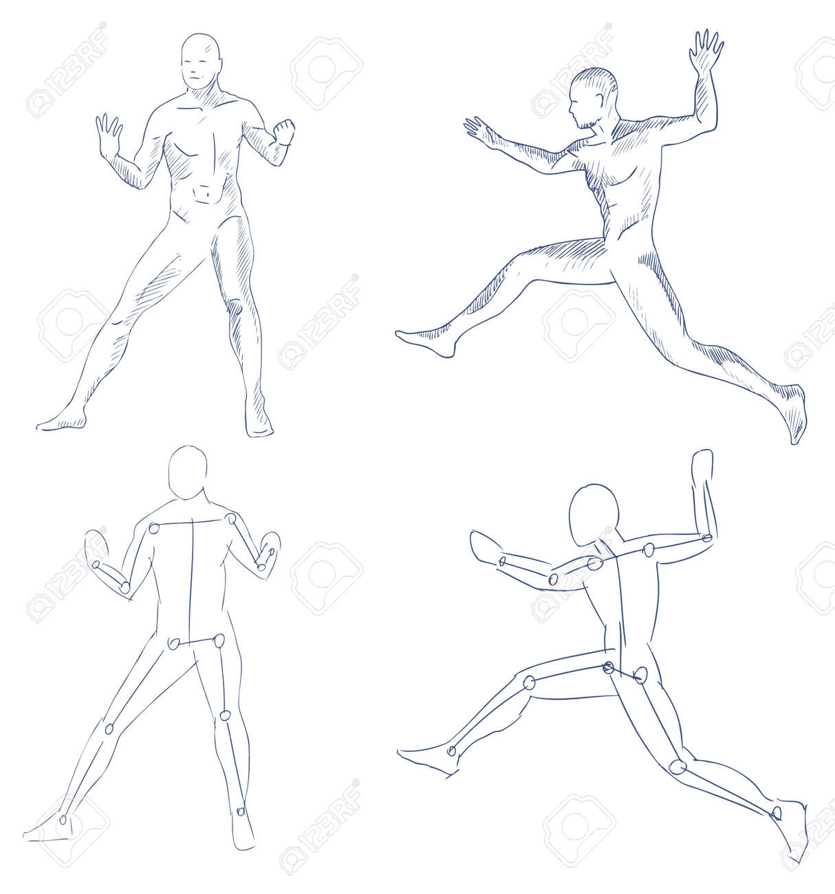 human in motion artistic sketch with shading vector Stock Vector - 10573778