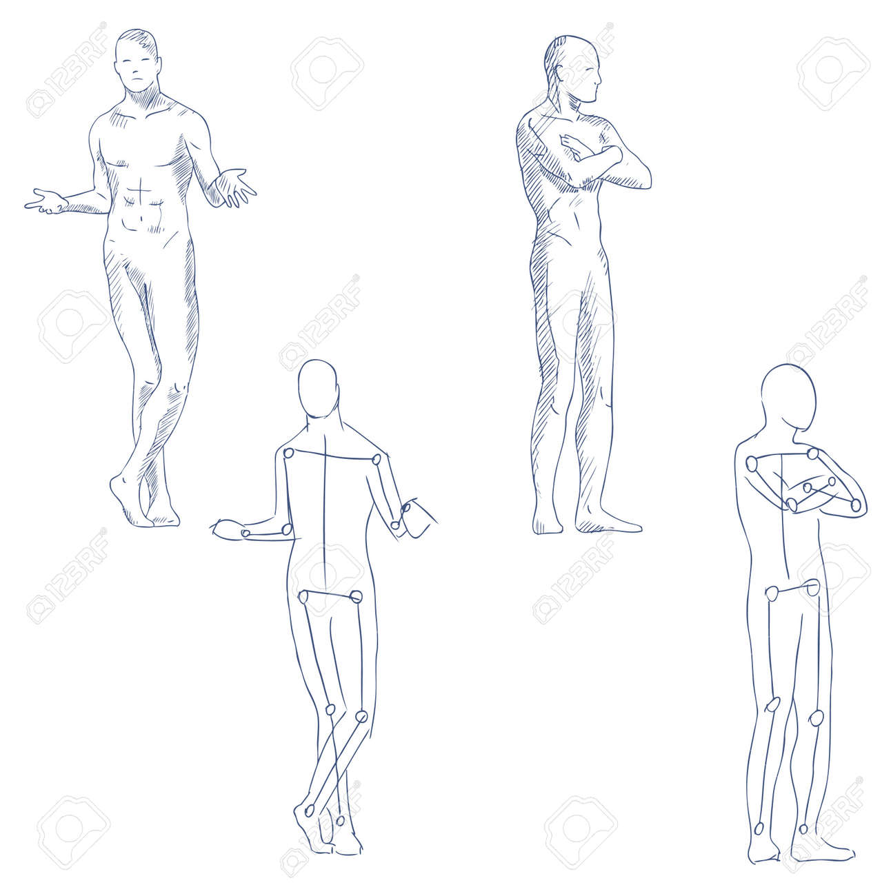 human in motion artistic sketch with shading vector Stock Vector - 10573779