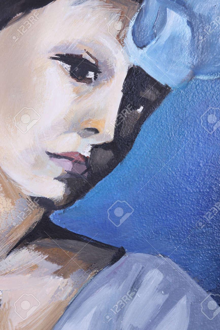 Portrait De Femme, Peinture à L'huile Banque