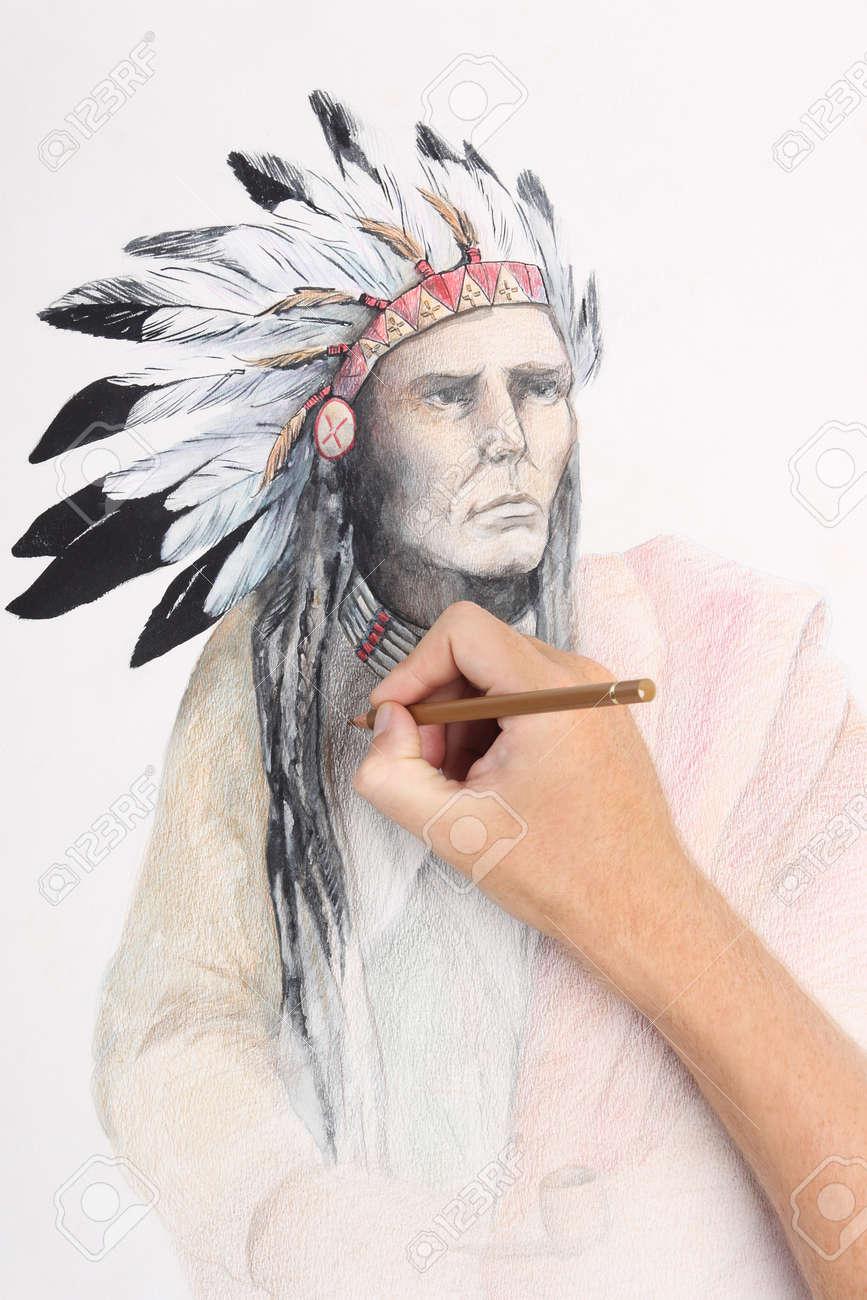 La Mano Del Hombre Dibujo A Lápiz Con La Imagen De Jefe Indio