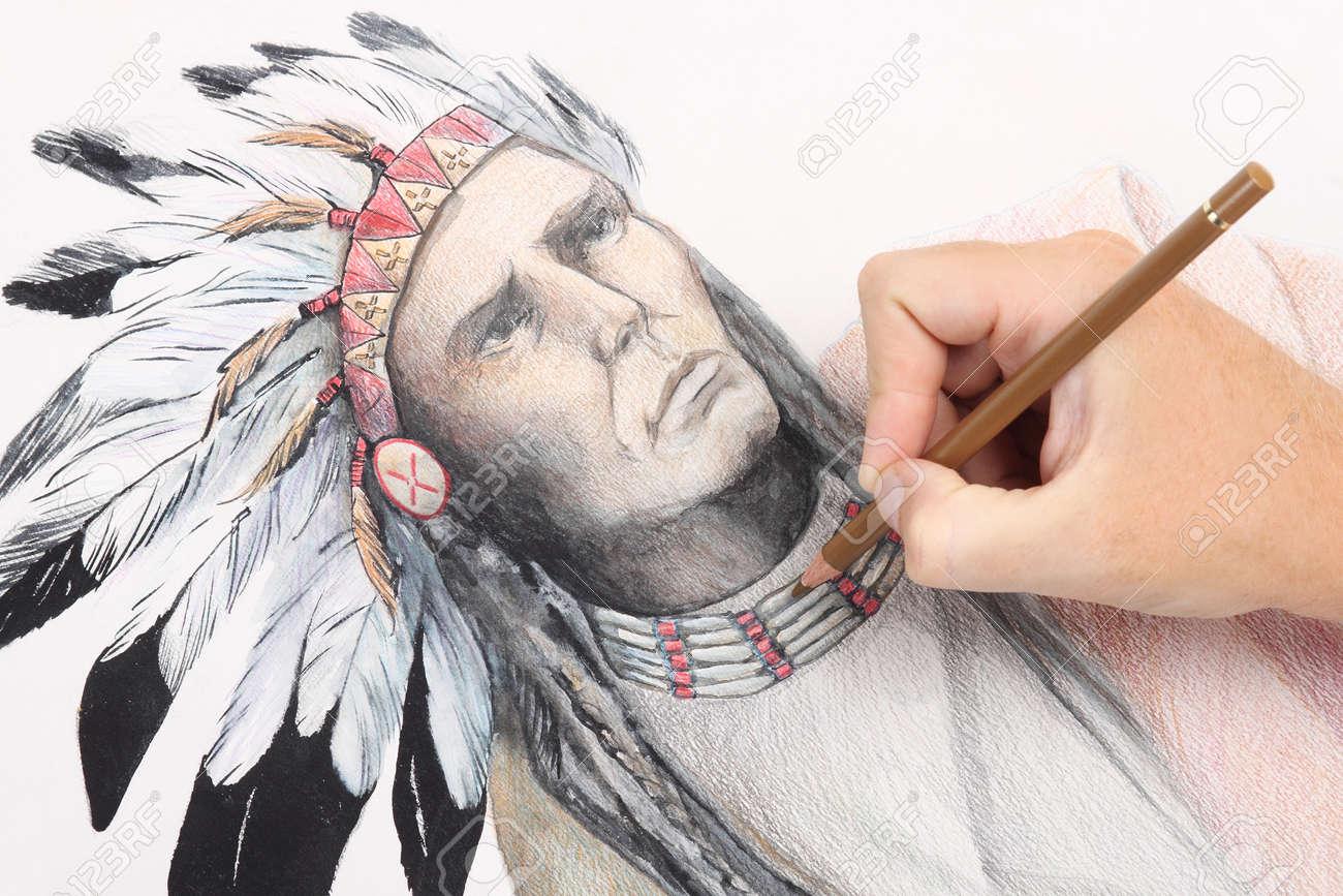 Main De L Homme Dessin Au Crayon Photo Avec Chef Indien De L Amérique