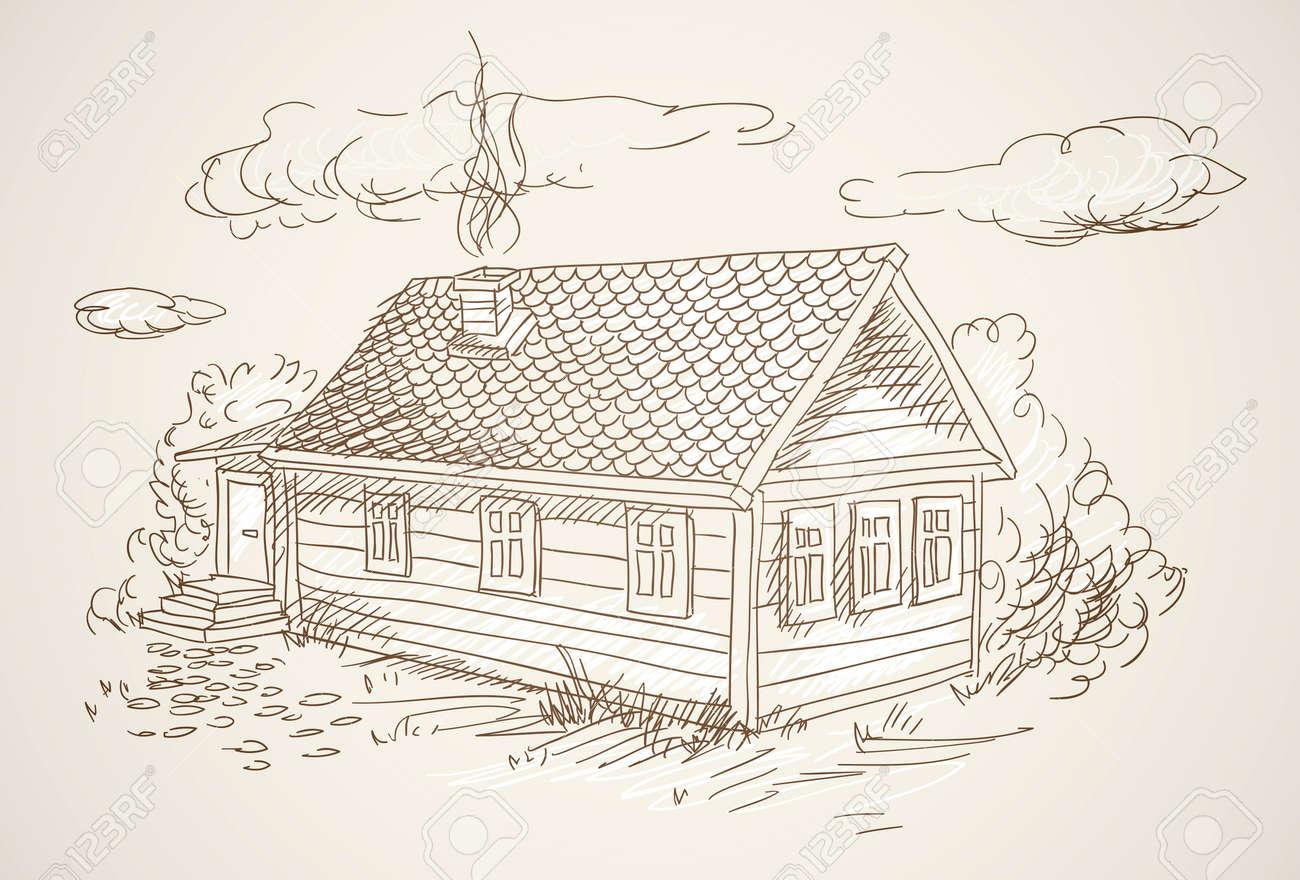 Vector simple village house vector