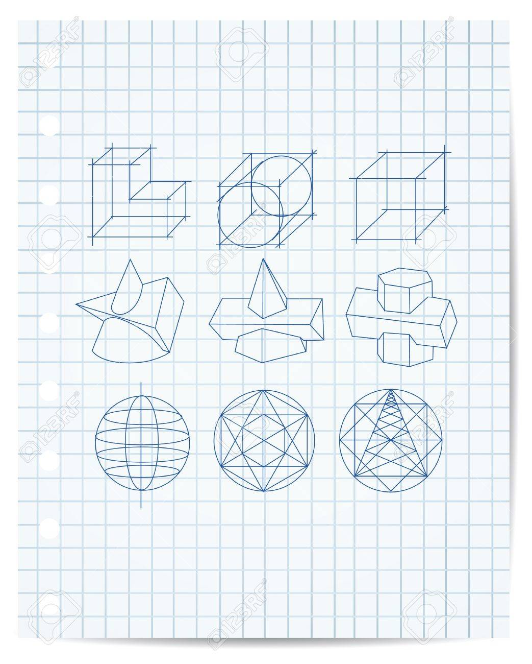 scheme of geometrical objects on copybook paper vector Stock Vector - 13561199