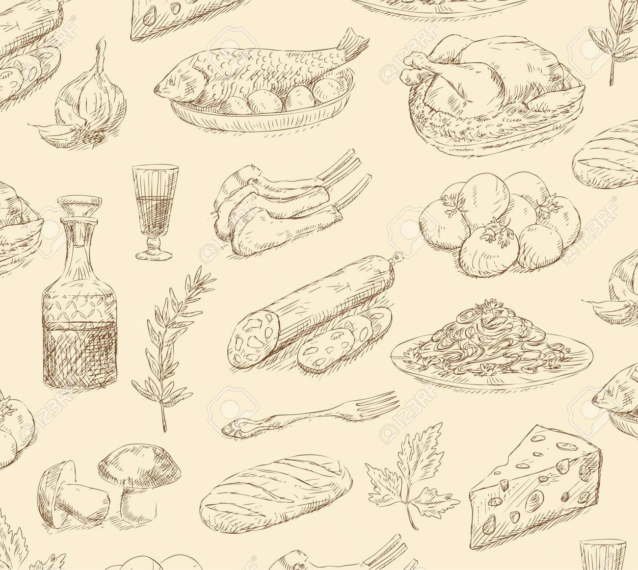 hand drawn food set Stock Vector - 16789269