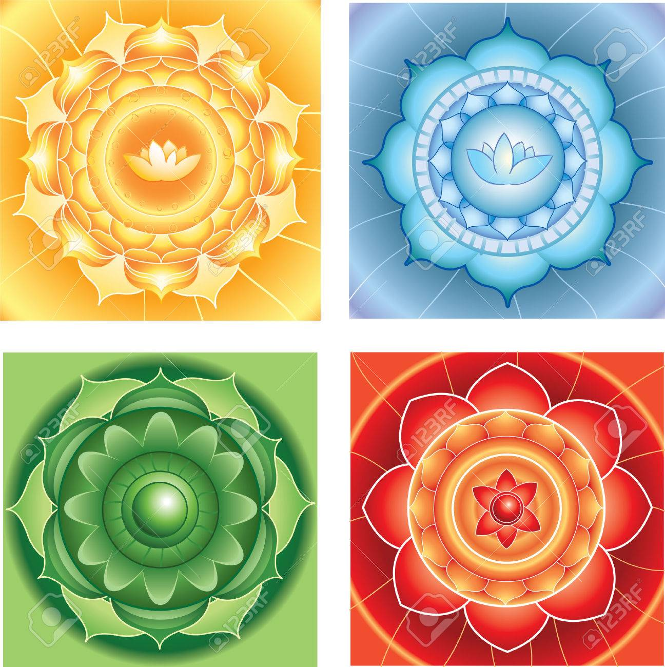 bright abstract circle backgrounds, mandalas of different chakras, vector Stock Vector - 29348902