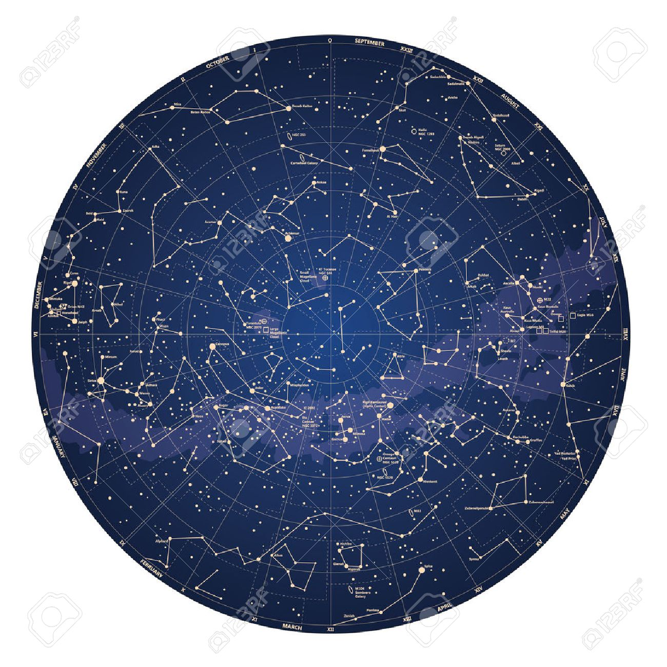 High detailed sky map of Southern hemisphere with names of stars and constellations colored vector - 29384954