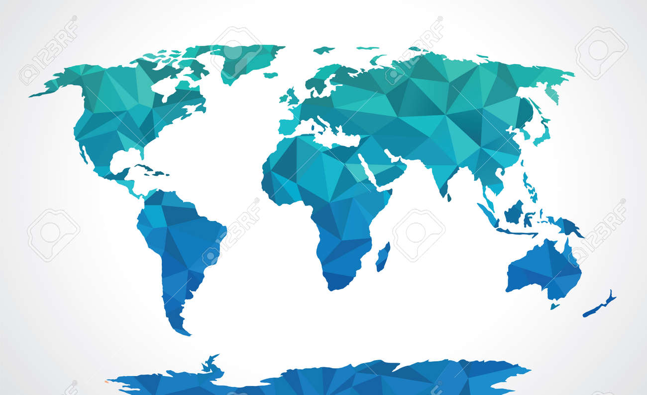 Blue Polygonal World Map Royalty Free Cliparts Vectors And Stock