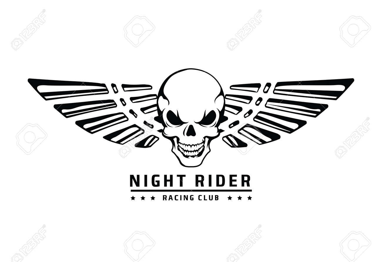 Angry Skull With Wings Vector Emblem On White Royalty Free Cliparts