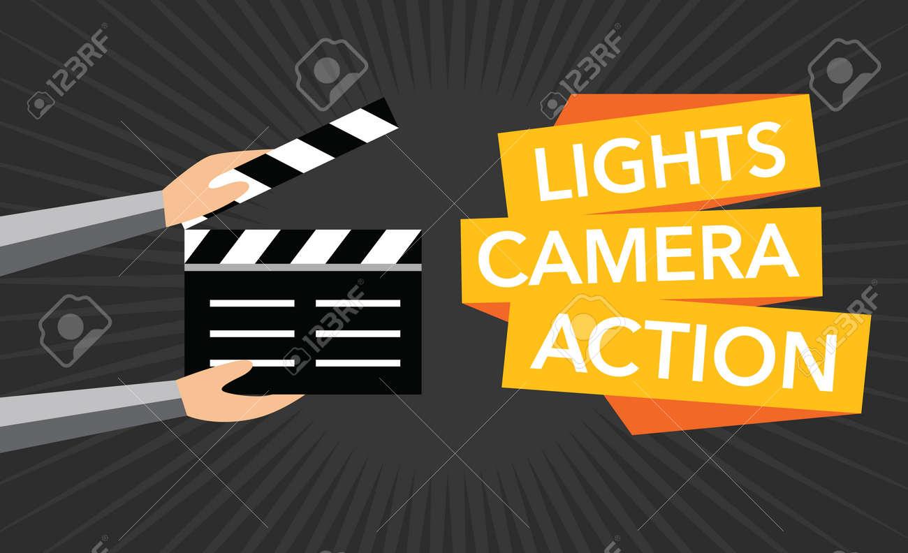 cinema lights camera action flat background - 51290146