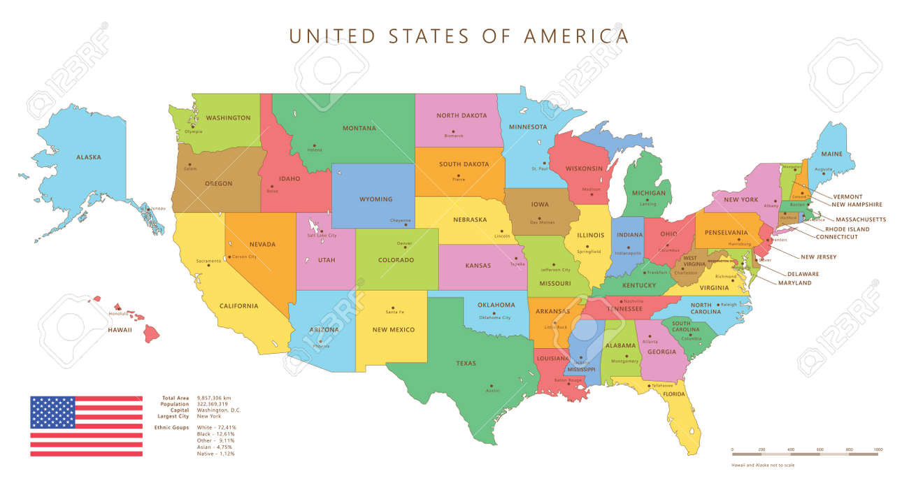 Silhouette And Colored United States Map With Names And Capitals ...