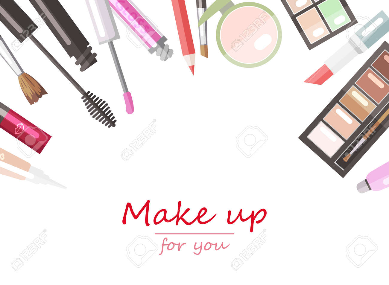 Makeup Beauty Products Flat Vector Background Template Royalty Free Cliparts Vectors And Stock Illustration Image 64839286