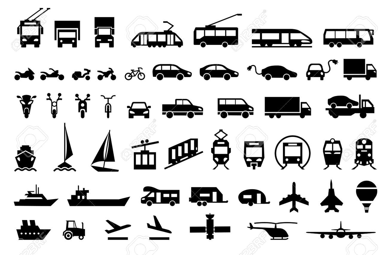 Large transport icons set. flat symbols vector illustration - 68870545