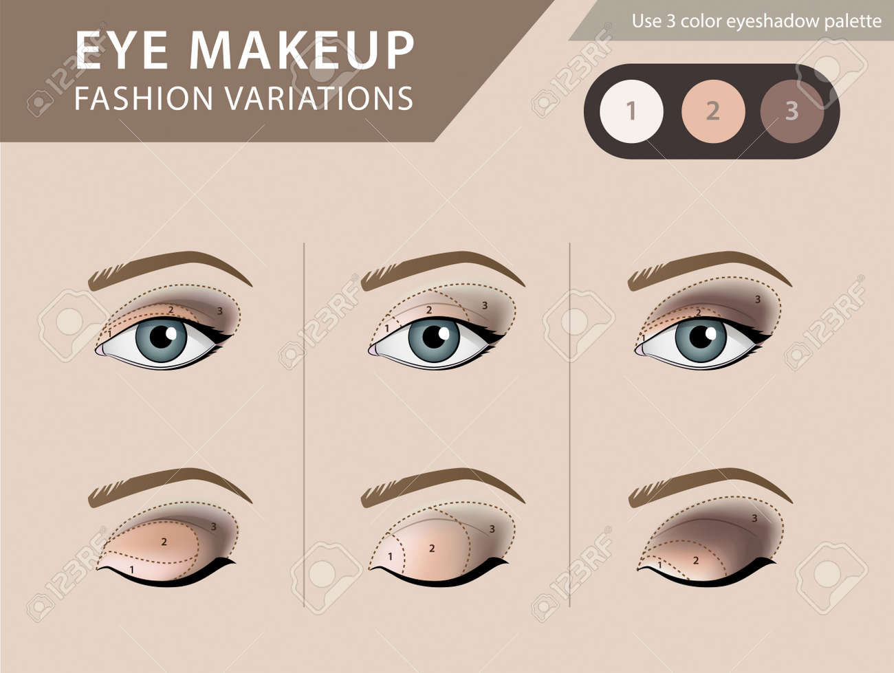 Eye Makeup Tutorial Eyeshadow Vector Template Royalty Free Cliparts - Eyeshadow template