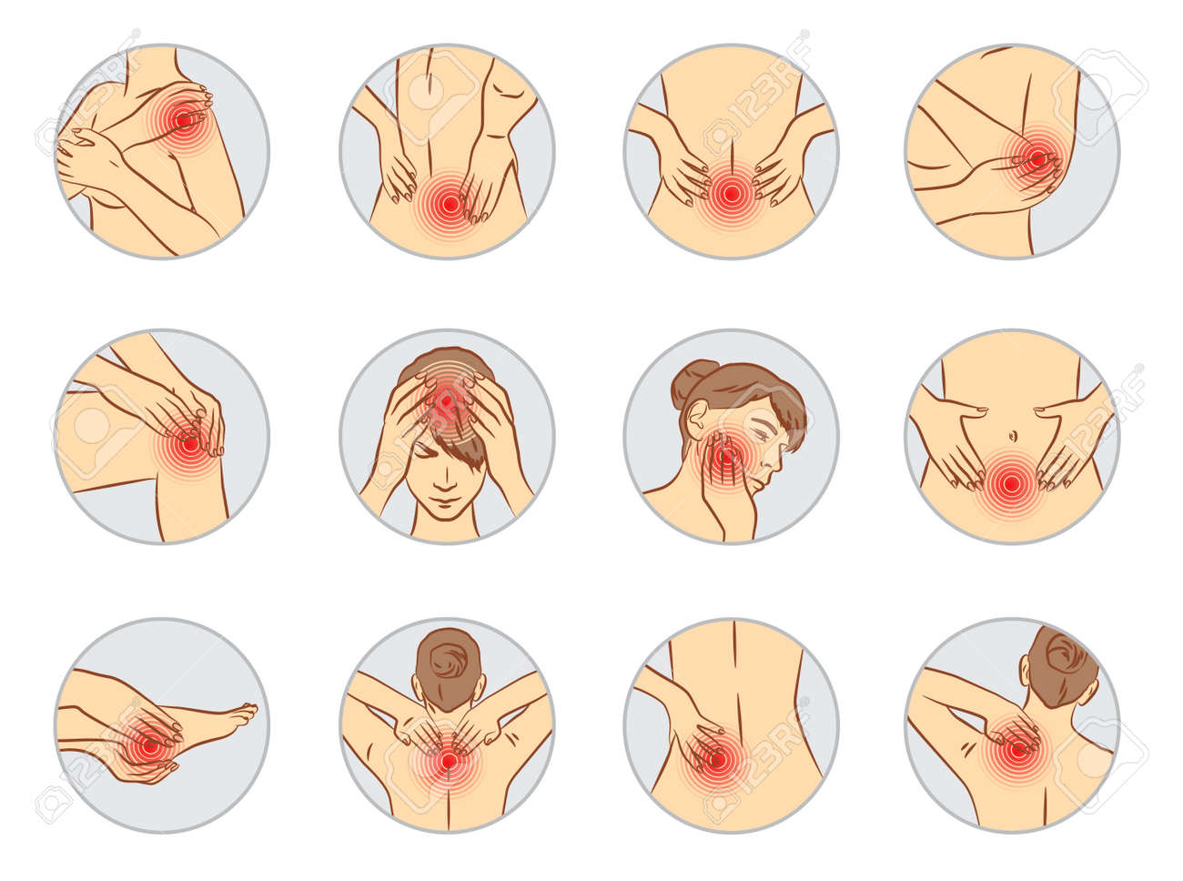 pain vector set, woman body parts - 91102074