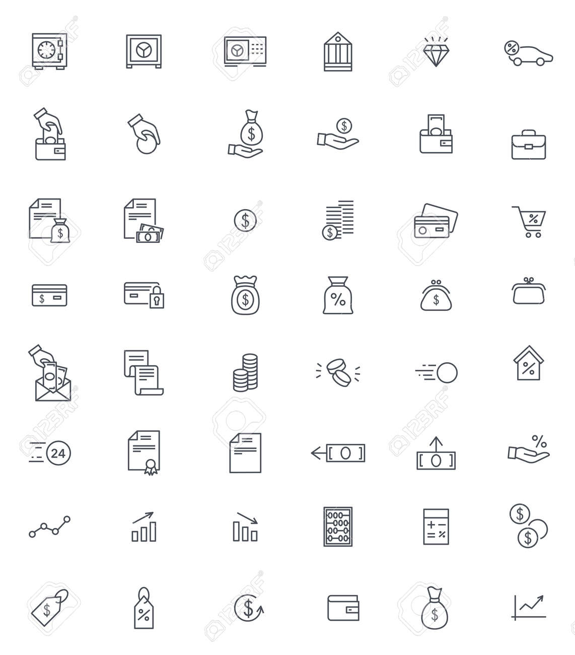 Finance and banking thin icons vector set - 167554924